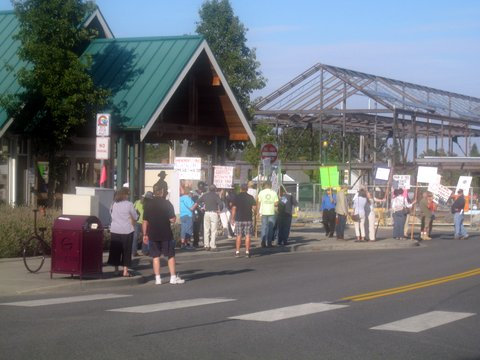 Sequim citizens rally with signs to support & protest Propositions